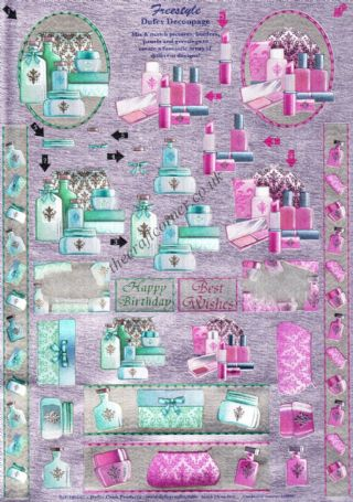 Cosmetics, Lipstick & Creams Freestyle 3d Die Cut Decoupage Sheet From Dufex